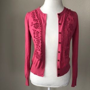 BANANNA republic pink cardigan with detail small